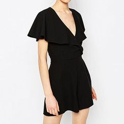Richcoco - V-Neck Short-Sleeve Playsuit