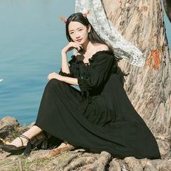 Sens Collection - Off Shoulder Long Sleeve Maxi Dress