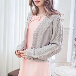 Tokyo Fashion - Buttoned Cropped Knit Cardigan