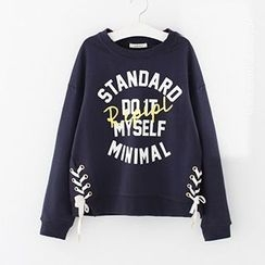 Meimei - Lettering Side Lace Up Pullover