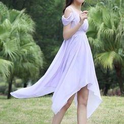 Isadora - Cold Shoulder Hanky Hem Chiffon Dress