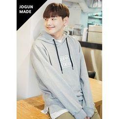 JOGUNSHOP - Layered-Hem Printed Hood Pullover