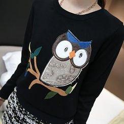 Coralie - Owl Applique Knit Top