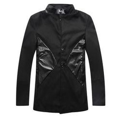 K-Style - Mandarin-Collar Faux-Leather-Panel Coat