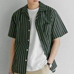 Seoul Homme - Short-Sleeve Striped Shirt