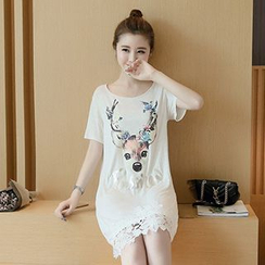 Fashion Street - Deer Print Short Sleeve T-Shirt Dress
