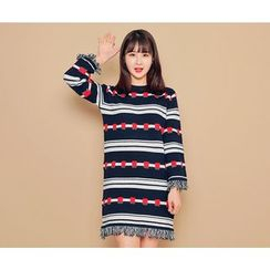 HOTPING - Fringed-Trim Pattern Minidress