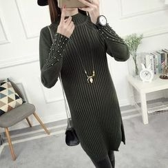 anzoveve - Embellished Mock Neck Long Sweater