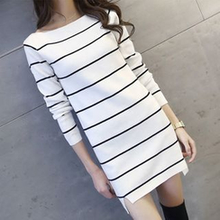 Rocho - Long-Sleeve Striped Knit Dress
