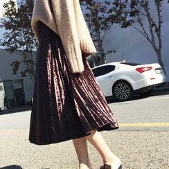 Ranche - Pleated Velvet Midi Skirt