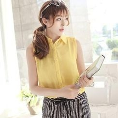 CatWorld - Sleeveless Chiffon Shirt
