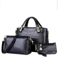 Auree - Set of 3: Faux-Leather Croc-Grain Satchel + Cross Bag + Pouch