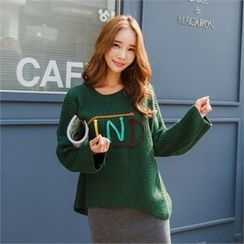 clicknme - Lettering Loose-Fit Pointelle-Knit Sweater