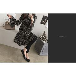DAILY LOOK - Patterned Bell-Sleeve Ruffle-Hem Dress
