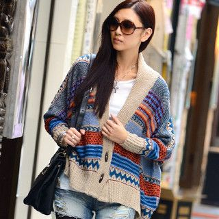 Wood-Button Printed Oversized Cardigan