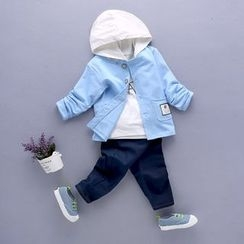 POMME - Kids Set: Lettering Hoodie + Jacket + Band Waist Pants