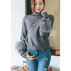 REDOPIN - Turtle-Neck Faux-Fur Knit Top