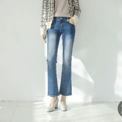 JUSTONE - Washed Elastic Boot-Cut Jeans