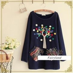 Fairyland - Tree Embroidered Long-Sleeve T-Shirt