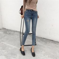 Dream Bear - Washed Distressed Skinny Jeans