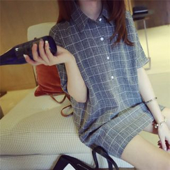 QZ Lady - Short-Sleeve Check Blouse