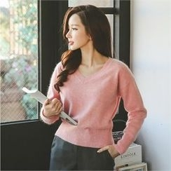 ode' - V-Neck Angora Wool Blend Sweater
