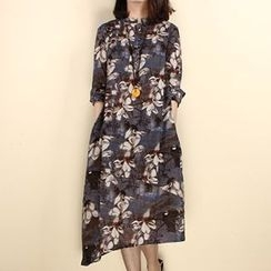 Fashion Street - Floral Print 3/4 Sleeve Midi Dress