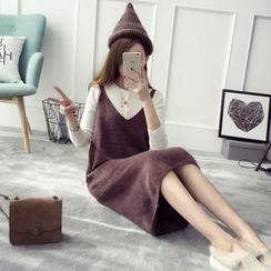 TIMI - 純色V領針織背帶裙