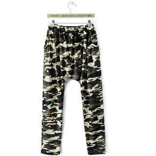 JVL - Elastic-Waist Low-Crotch Camouflage Pants
