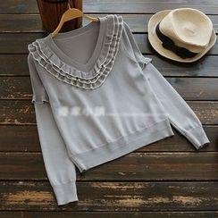 YOYO - Long-Sleeve Ruffled Knit Top