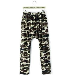 JVL - Elastic-Waist Low-Crotch Camouflage Pants