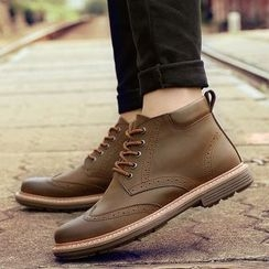 MARTUCCI - Genuine-Leather Perforated High-Top Oxfords