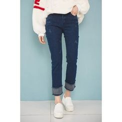 migunstyle - Cuff-Hem Distressed Jeans