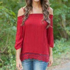 Rebecca - 3/4-Sleeve Off Shoulder T-Shirt