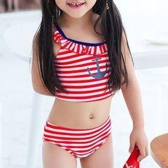 BOIE - 童裝: 條紋游泳上衣 + 泳裙 + 泳帽
