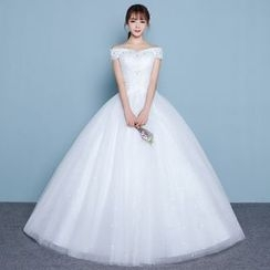 Luxury Style - Rhinestone Off Shoulder Wedding Gown
