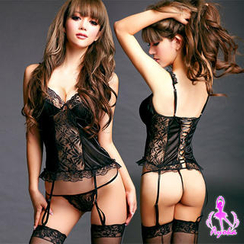 Ayoka - Set: Lace Teddy + String + Stockings