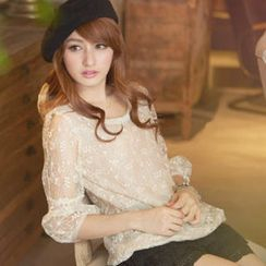 Tokyo Fashion - 3/4-Sleeve Beaded-Neck Lace Top