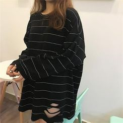 EEKO - Long-Sleeve Striped T-Shirt Dress
