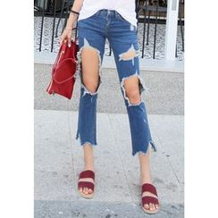 REDOPIN - Cutout Distressed Jeans