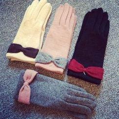 FROME - 蝴蝶結飾羊毛手套
