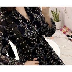 Marlangrouge - Floral Pattern A-Line Chiffon Dress