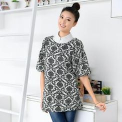 59 Seconds - Bell-Sleeve Pattern Knit Top