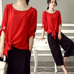 Ashlee - Set: Tie-hem Elbow-Sleeve Top + Capri Wide-leg Pants