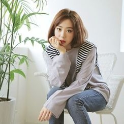 WITH IPUN - Mock Two-Piece Striped-Panel Top