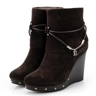 Exull - Braided-Strap Wedge Short Boots