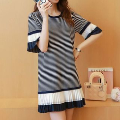 Bubbleknot - Accordion Stripe Colour Block Knit Dress