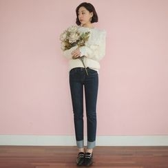 WITH IPUN - Fray-Hem Straight-Cut Jeans