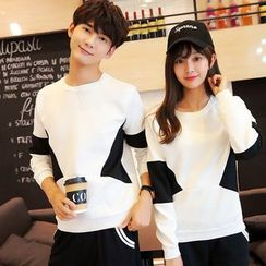Azure - Couple Matching Color Panel Pullover/ Hoodie