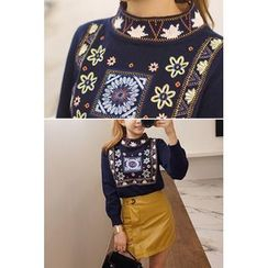 migunstyle - Mock-Neck Embroider Knit Top